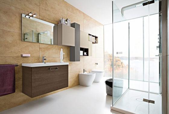 Interieur inrichting - Moderne badkamer tegelvloeren ...